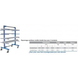 Rayonnage cantilever mobile  1600 double face