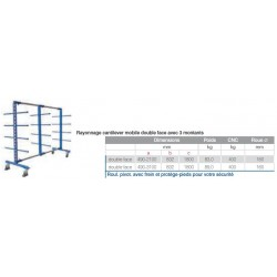 Rayonnage cantilever mobile  3100 double face
