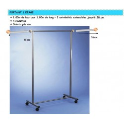 Portant a roulettes simple lg 1MX larg 1Mx htr 1M50 extensible 2x30 cm porte vetements