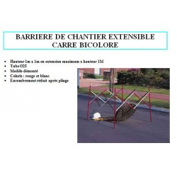 Barriere de chantier telescopique Modele carre 1m x 1m blanc et rouge