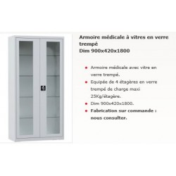 ARMOIRE medicale VITREE 4  TABLETTES 1800x900x420