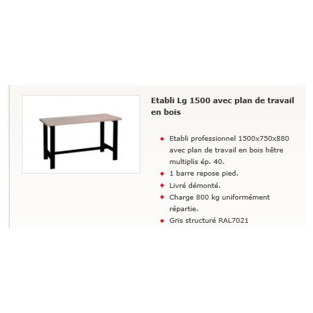 etabli avec plan de travail en bois 1500x750x880 kxproshop. Black Bedroom Furniture Sets. Home Design Ideas
