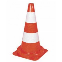 cone balise polyethylene 2 bandes blanches ( x10) haut 50cm