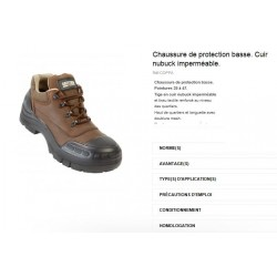 CHAUSSURE DE SECURITE BASSE MARRON
