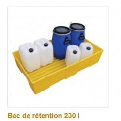 Bac de retention polyethylene 230 l sans caillebotis fond rainure dim 1290x730x295 mm