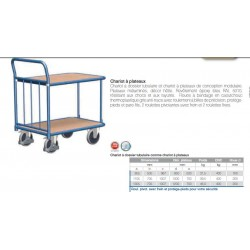 Chariot a dossier tubulaire comme chariot a plateaux 1305x705x1007