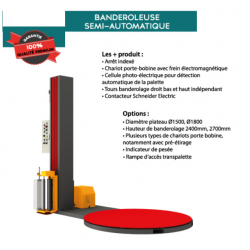 Banderoleuse semi automatique avec rampe  1510x270x2421 mm Htr maxi 2100 mm charge maxi 2000 kg