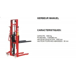 gerbeur manuel 1000 kg fourches 1150x560 mm elevation 2500 mm